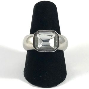 Chunky Vintage Silver Tone CZ Women's Ring Size 7
